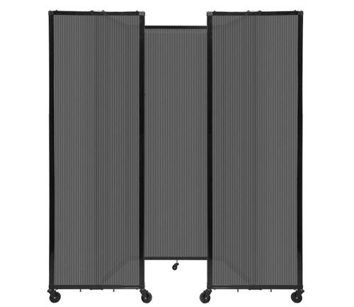 "Room Divider 360 Folding Portable Partition 8'6"" x 7'6"" Dark Gray Fluted Polycarbonate"