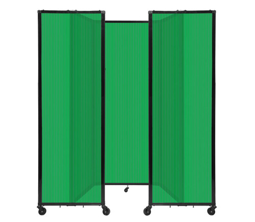 """Room Divider 360 Folding Portable Partition 8'6"""" x 7'6"""" Green Fluted Polycarbonate"""
