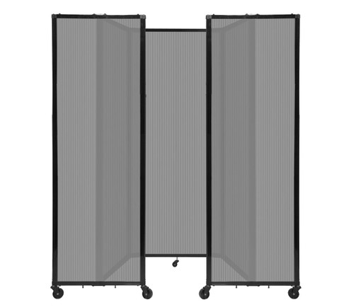 "Room Divider 360 Folding Portable Partition 8'6"" x 7'6"" Light Gray Fluted Polycarbonate"