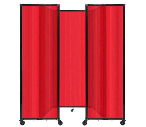 """Room Divider 360 Folding Portable Partition 8'6"""" x 7'6"""" Red Fluted Polycarbonate"""