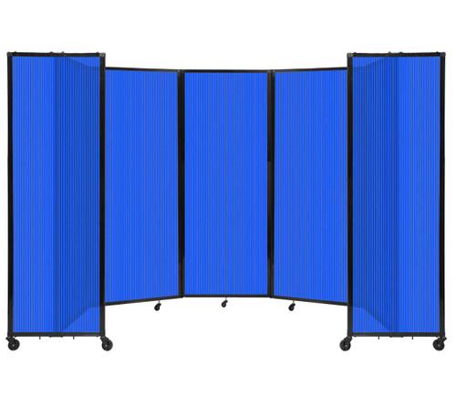 "Room Divider 360 Folding Portable Partition 14' x 7'6"" Blue Fluted Polycarbonate"