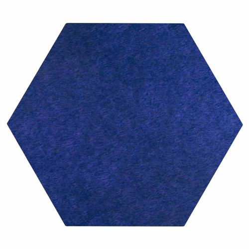 "Wall-Mounted SoundSorb Acoustic Panels 12"" Hexagon Flat Blue High Density Polyester"