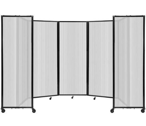 """Room Divider 360 Folding Portable Partition 14' x 7'6"""" Clear Fluted Polycarbonate"""