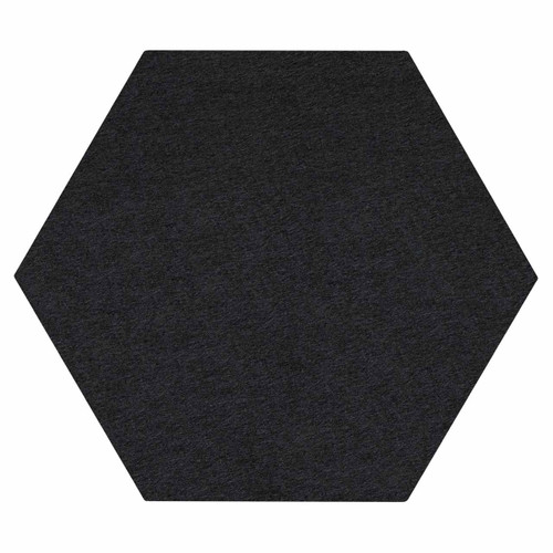 "Wall-Mounted SoundSorb Acoustic Panels 24"" Hexagon Flat Black High Density Polyester"