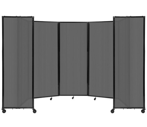 """Room Divider 360 Folding Portable Partition 14' x 7'6"""" Dark Gray Fluted Polycarbonate"""