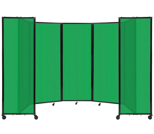 """Room Divider 360 Folding Portable Partition 14' x 7'6"""" Green Fluted Polycarbonate"""