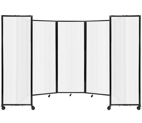 """Room Divider 360 Folding Portable Partition 14' x 7'6"""" Opal Fluted Polycarbonate"""