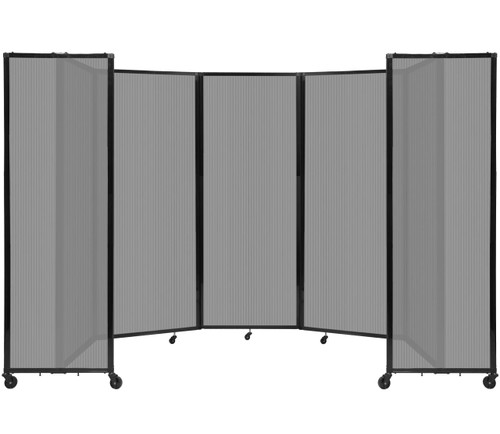 """Room Divider 360 Folding Portable Partition 14' x 7'6"""" Light Gray Fluted Polycarbonate"""