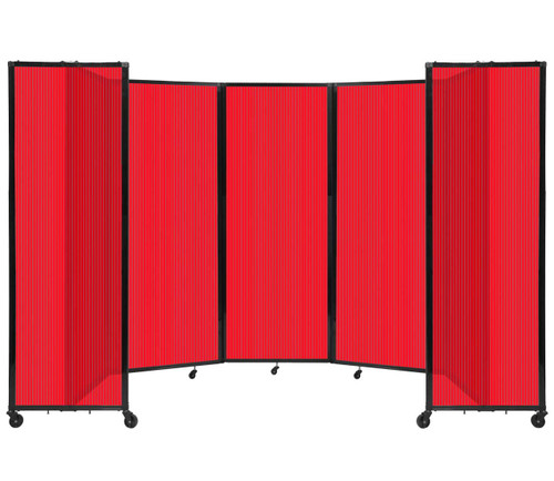 """Room Divider 360 Folding Portable Partition 14' x 7'6"""" Red Fluted Polycarbonate"""