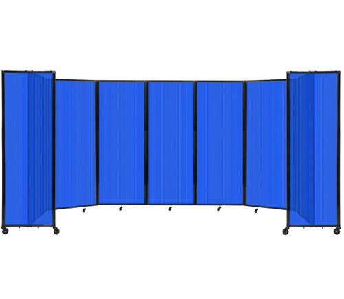 "Room Divider 360 Folding Portable Partition 19'6"" x 7'6"" Blue Fluted Polycarbonate"
