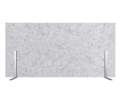"SoundSorb Desktop Privacy Panels 24"" x 12"" Marble Gray High Density Polyester Freestanding"