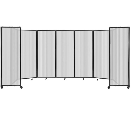 """Room Divider 360 Folding Portable Partition 19'6"""" x 7'6"""" Clear Fluted Polycarbonate"""