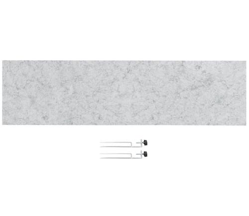 "SoundSorb Desktop Privacy Panels 48"" x 12"" Marble Gray High Density Polyester Edge Clip"