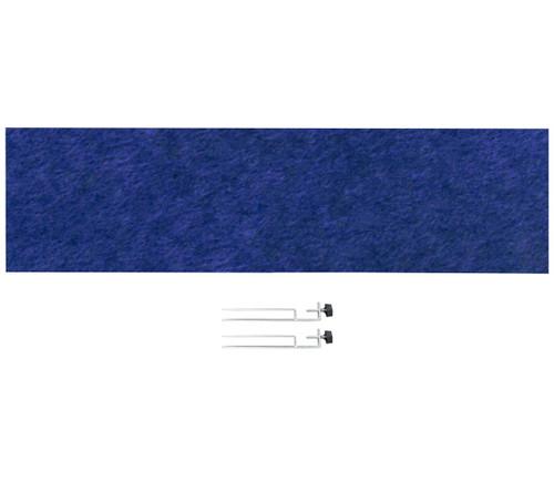 "SoundSorb Desktop Privacy Panels 48"" x 12"" Blue High Density Polyester Edge Clip"