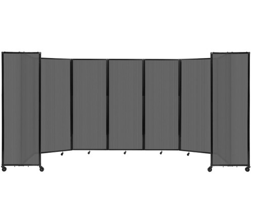 """Room Divider 360 Folding Portable Partition 19'6"""" x 7'6"""" Dark Gray Fluted Polycarbonate"""