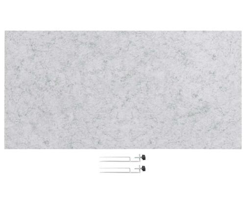 "SoundSorb Desktop Privacy Panels 48"" x 24"" Marble Gray High Density Polyester Edge Clip"