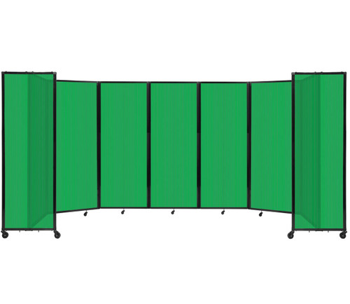 """Room Divider 360 Folding Portable Partition 19'6"""" x 7'6"""" Green Fluted Polycarbonate"""