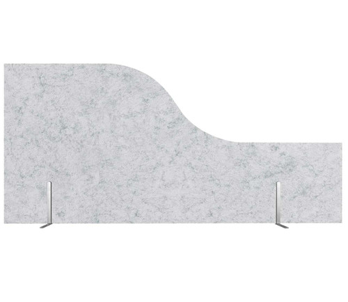 "SoundSorb Desktop Privacy Panels 48"" x 12""-24"" Wave Marble Gray High Density Polyester Freestanding"