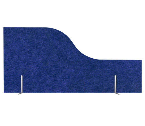 "SoundSorb Desktop Privacy Panels 48"" x 12""-24"" Wave Blue High Density Polyester Freestanding"