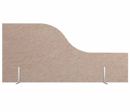 "SoundSorb Desktop Privacy Panels 48"" x 12""-24"" Wave Beige High Density Polyester Freestanding"
