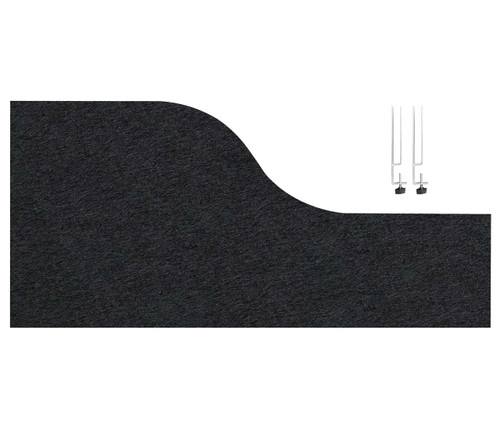 "SoundSorb Desktop Privacy Panels 48"" x 12""-24"" Wave Black High Density Polyester Edge Clip"
