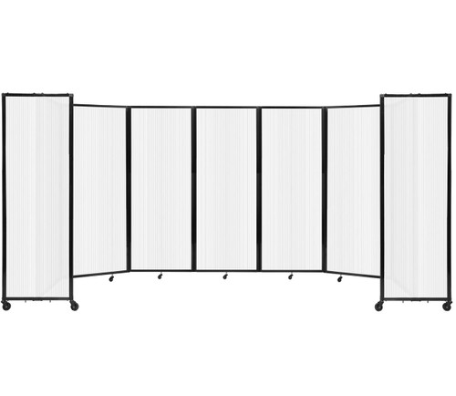 """Room Divider 360 Folding Portable Partition 19'6"""" x 7'6"""" Opal Fluted Polycarbonate"""