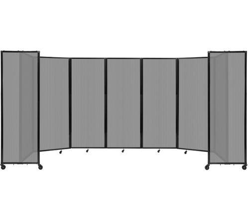 """Room Divider 360 Folding Portable Partition 19'6"""" x 7'6"""" Light Gray Fluted Polycarbonate"""