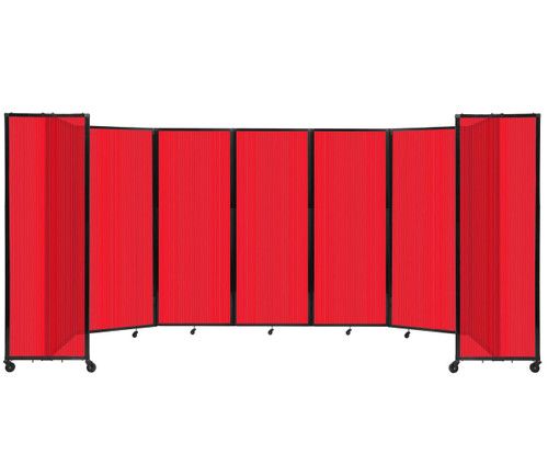 """Room Divider 360 Folding Portable Partition 19'6"""" x 7'6"""" Red Fluted Polycarbonate"""
