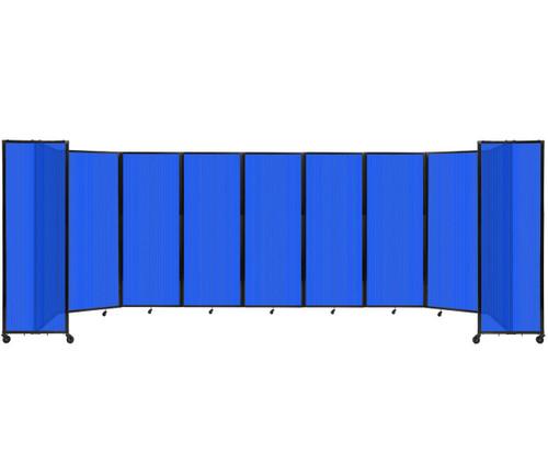 "Room Divider 360 Folding Portable Partition 25' x 7'6"" Blue Fluted Polycarbonate"