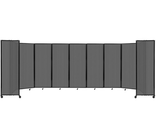"""Room Divider 360 Folding Portable Partition 25' x 7'6"""" Dark Gray Fluted Polycarbonate"""