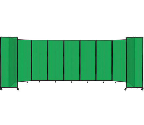 """Room Divider 360 Folding Portable Partition 25' x 7'6"""" Green Fluted Polycarbonate"""