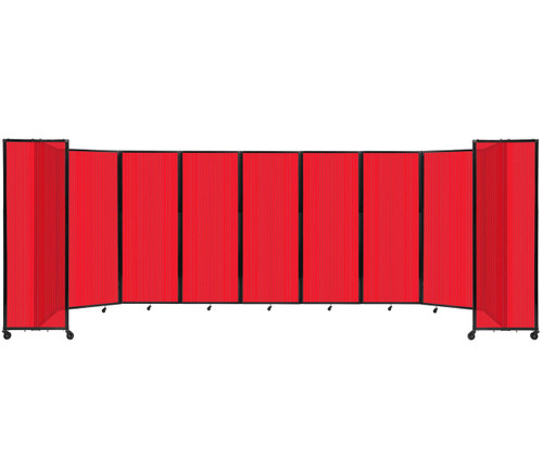 """Room Divider 360 Folding Portable Partition 25' x 7'6"""" Red Fluted Polycarbonate"""