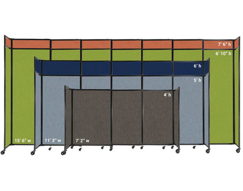 Widths and heights of the StraightWall Sliding Portable Partition.