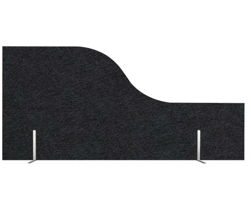 "SoundSorb Desktop Privacy Panels 48"" x 12""-24"" Wave Black High Density Polyester Freestanding"