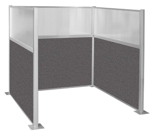 Pre-Configured U-Shape Cubicle with clear fluted windows and charcoal gray fabric