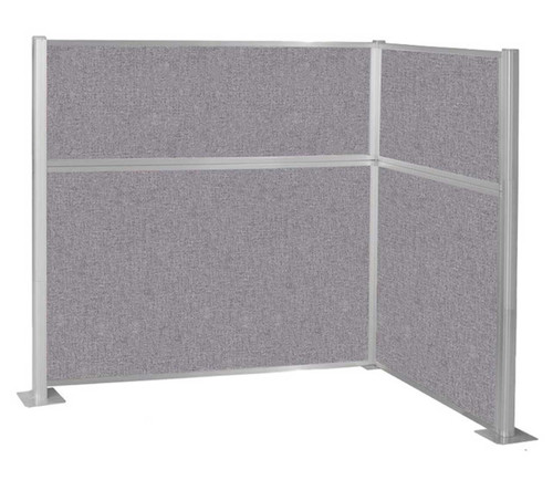 The Pre-Configured Hush Panel Cubicle (L Shape) with all cloud gray fabric.