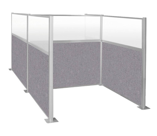 The Pre-Configured Hush Panel Cubicles (H Shape) with cloud fabric and clear fluted windows.