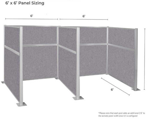 Dimensions of the Pre-Configured Hush Panel Cubicles (W Shape).