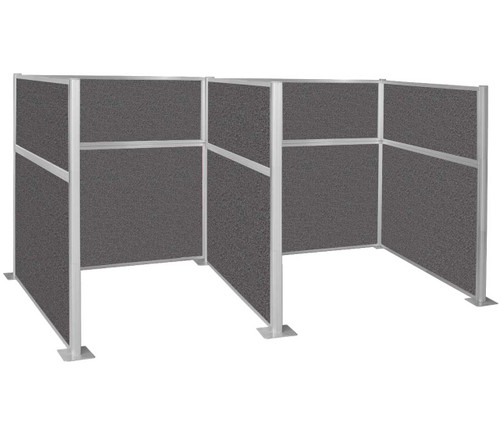 The Pre-Configured Hush Panel Cubicles (W Shape) with all charcoal gray fabric.