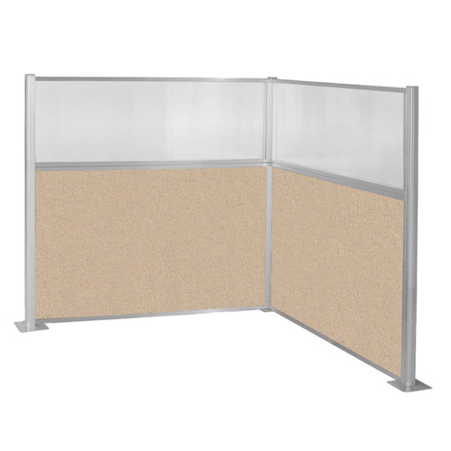 Hush Panel Kit (L Shape) 6' x 6' L-Build W/ Window Beige Fabric 6' x 6' L-Build W/ Window Beige Fabric