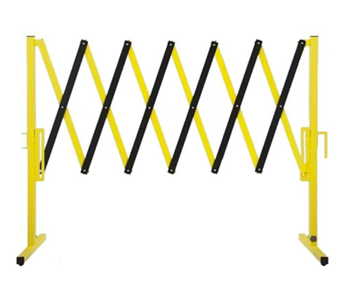 The Protector Portable Safety Gate 11' x 4' Yellow Steel With Wheels