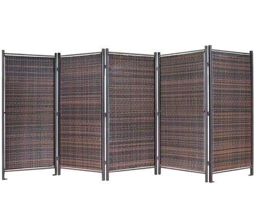 Folding Outdoor Wicker Partition 10' x 6' Brown Wicker