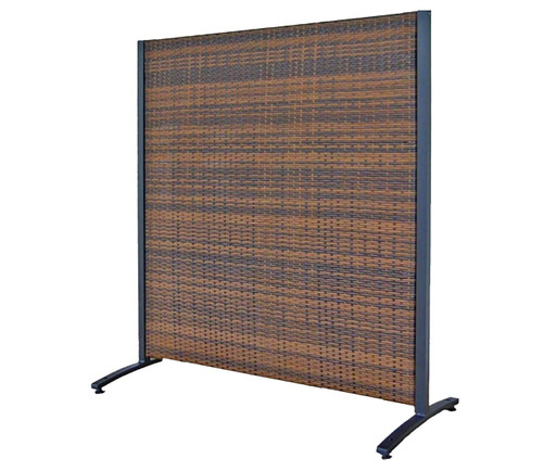 Single Panel Outdoor Wicker Partition 4' x 4' Brown Wicker