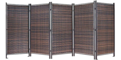 The 10' wide folding wicker partition comes in 5 panels.