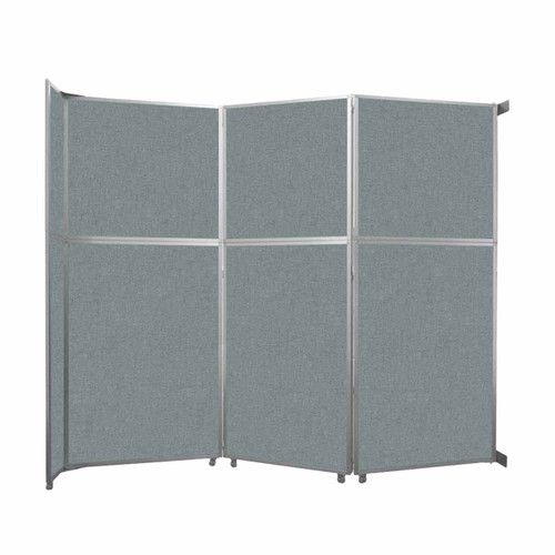 """Operable Wall Folding Room Divider 11'9"""" x 10'3/4"""" Sea Green Fabric"""
