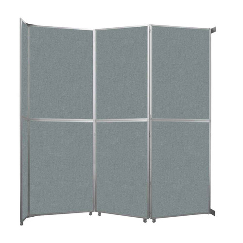 "Operable Wall Folding Room Divider 11'9"" x 12'3"" Sea Green Fabric"