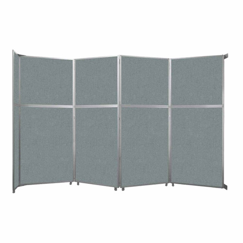 """Operable Wall Folding Room Divider 15'7"""" x 10'3/4"""" Sea Green Fabric"""