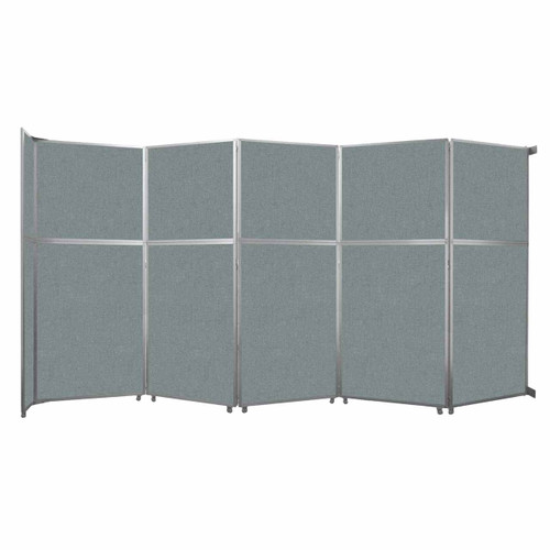 "Operable Wall Folding Room Divider 19'6"" x 10'3/4"" Sea Green Fabric"