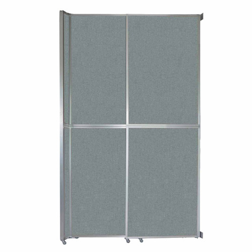 """Operable Wall Sliding Room Divider 6'10"""" x 12'3"""" Sea Green Fabric"""