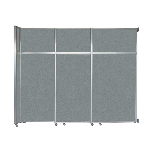 "Operable Wall Sliding Room Divider 9'9"" x 8'5-1/4"" Sea Green Fabric"